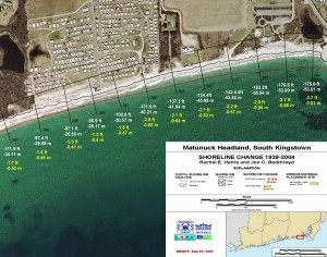 CRMC Shoreline Change Map for the Matunuck Headland in South Kingstown, R.I. Click for the full resolution.