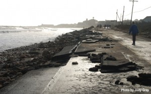 Corn Neck Road on Block Island, R.I. was partially destroyed during Sandy. Photo by Judy Gray.