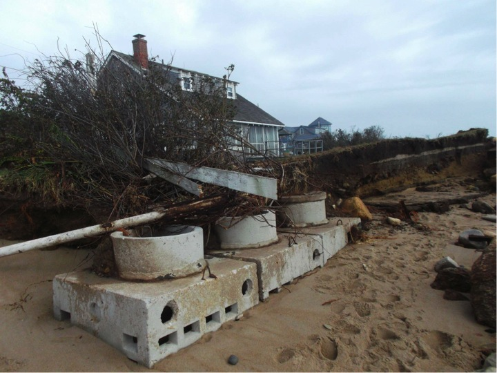 Exposed septic system: Erosion can uncover and damage septic systems during severe coastal storms.
