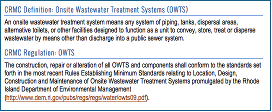 Septic System Requirements – RI Shoreline Change Special